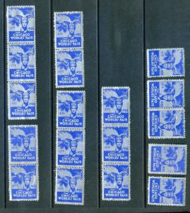 18 VINTAGE 1933 CHICAGO WORLD'S FAIR POSTER STAMPS (L897) ILLINOIS