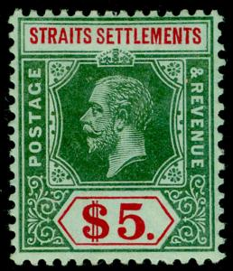 MALAYSIA - Straits Settlements SG212b, $5 green & red/green, LH MINT. Cat £200.