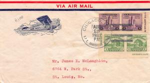 U.S. 1933, Scott #730a-731a pairs on Rice Cacheted Airmail First Day Cover