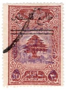(I.B) Lebanon Revenue : Duty Stamp 5pa on 30c (double overprint)