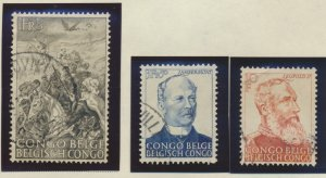Belgian Congo Stamps Scott #228 To 230, Used