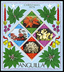 Anguilla 370a, MNH, Christmas 1979 souvenir sheet, Flowers