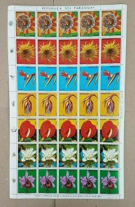 EC180 PARAGUAY FLORA FLOWERS !!! MICHEL 45 EURO BIG SH FOLDED IN 3 MNH