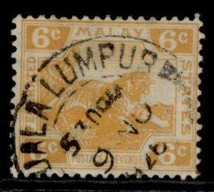 MALAYSIA - Federated Malay GV SG63, 6c orange, FINE USED.
