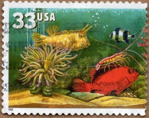 Scott 3317a Aquarium Fish, Single with Over-All Tagging Used