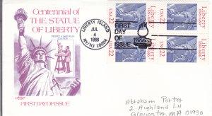 1986, Centennial Statue of Liberty, Block/4, Artmaster, FDC (E10895)