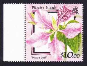 Pitcairn Flowers $10 1v with left side margin SG#575 SC#523