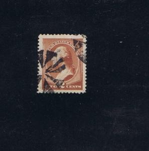 SCOTT #210 USED 2 CENT 1883 JUMBO, GRADED CERT 90J FANCY PINWHEEL CANCELS