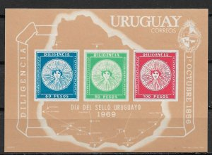 1969 Uruguay 771a Stamp Day MNH S/S