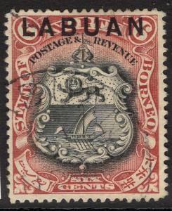 LABUAN SG93b 1897 6c BROWN-LAKE p14½-15 USED