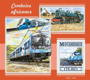 Mozambique MNH S/S African Locomotives #2 2015