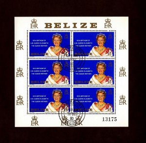 BELIZE - 1980 - QUEEN MOTHER - 80th BIRTHDAY - CTO - NH SHEET OF 6!
