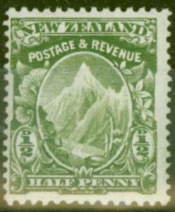 New Zealand 1907 1/2d Yellow-Green SG382 Fine Mtd Mint