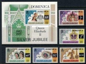 Dominica #521-68 NH  CV $3.00  Queen Elizabeth Silver Jubilee set & Souvenir sht