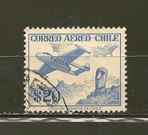 Chile C185 Airmail Jet Plane Over Easter Island Used