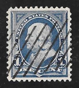 264 1 cent Fancy Cancel Franklin, Deep Blue Stamp used EGRADED SUPERB 98 XXF