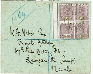 Zululand 1897 registered cover to Ladysmith, Natal, block of 4 SG 23
