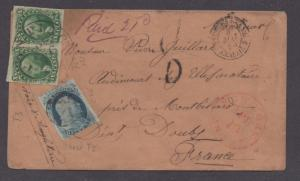 **US 19th Century Steamer Cover, SC #7 + 14(Pair) New Orleans, LA to France