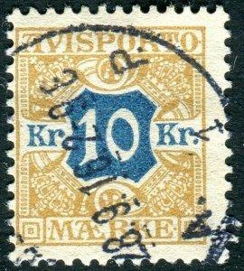 DENMARK-1907 10k Blue & Stone Sg N140 FINE USED V36668