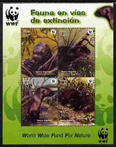 Peru MNH S/S 1433 Endangered Species Giant Otters WWF 2004
