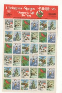 USA National Wildlife Federation Christmas Stamps 1976 Sheet of 36 MNH