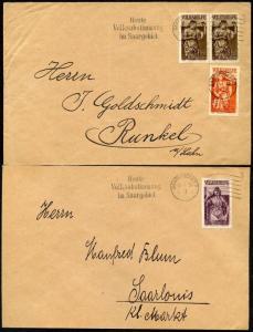 GERMANY SAAR SC#B54-60 MI# 199-205 ON 6 COVERS 1/13/35 TO RUNKEL AND SAARLOUIS