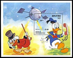 Bhutan 406, MNH, Disney World Communications Year souvenir sheet