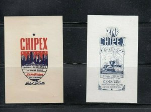 CHIPEX Central Federation of Stamp Clubs Chicago Stamp Show Labesl 1940 & 1942