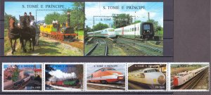 Sao Tome and Principe. 1996. 1687-91 bl353-354. Railway. MNH.