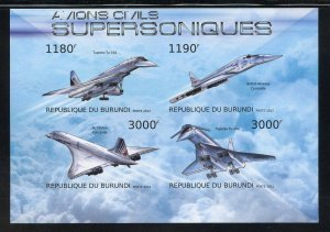 Burundi 1257 MNH Supersonic Aircraft Souvenir Sheet from 2012