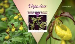 GUINEA BISSAU - 2019 - Orchids - Perf Souv Sheet - M N H