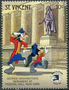 Saint Vincent 1989. Disney Characters. Statue of G. Washington (MNH OG) Stamp