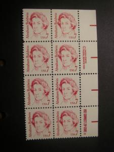 Scott 1850, 7c Abraham Baldwin, Zip & Copy Block of 8 RM, MNH Great Americans