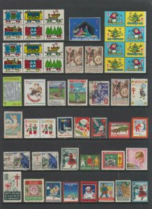 WORLDWIDE 1930-80 TBC & CHRISTMAS SEALS COLLECTION OF 89 STAMPS WITH MULTIPLES
