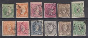 Greece Sc 53/83 used 1880-1891 issues, 12 diff used singles