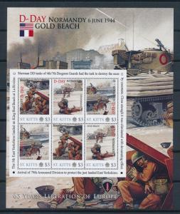 [81206] St. Kitts 2011 Second World war D-day Gold beach Sheet MNH
