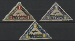 LITHUANIA, AIRPOST TRAINGLES FROM 1922 LH SET