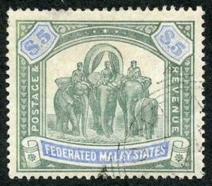 Federated Malay States SG25a Five Dollar Green and Pale Ultramarine Crown CC