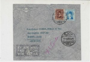 Egypt 1938 Alexandria Cancel Airmail to Argentina Slogan Bk Stamps Cover Rf29913