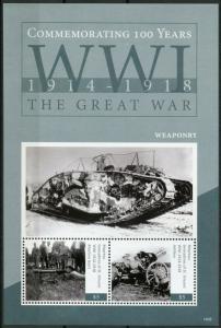 Mayreau Gren St Vincent 2014 MNH WWI WW1 World War I Weaponry 2v S/S Stamps