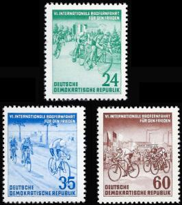 Germany DDR 1953 Sc 148-50 MVLH Bicycle Race