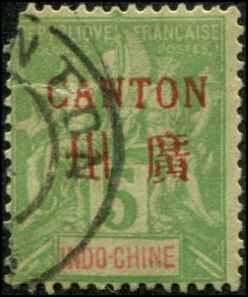 French Offices -Canton SC# 3 o/p on Peace & Commerce 5c FAULTED  Used