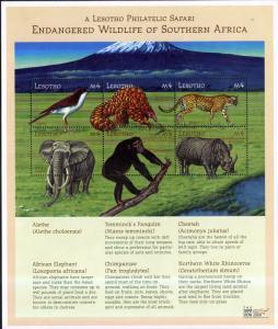 LESOTHO 1244 MNH S/S SCV $9.00 BIN $5.40 ENDANGERED WILDLIFE