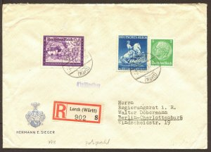 Germany Mi 515/771/778 Registered Express Mail Cover German Postal Workers 1941