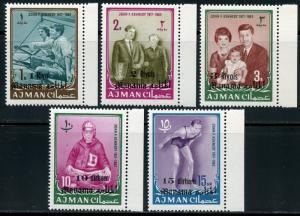 MANAMA OVP'T & REVALUED ON AJMAN  JOHN F. KENNEDY MEMORAIL SET MINT  NH