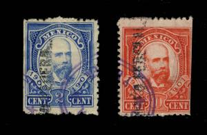 MEXICO - 1900/01 2c BLUE & 10c RED FISCAL/REVENUE STAMP DISTRITO FEDERAL O/P