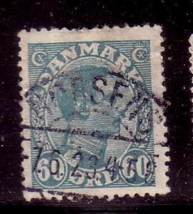 Denmark Sc 124 1921  60 ore grn  bl Christian X stamp used