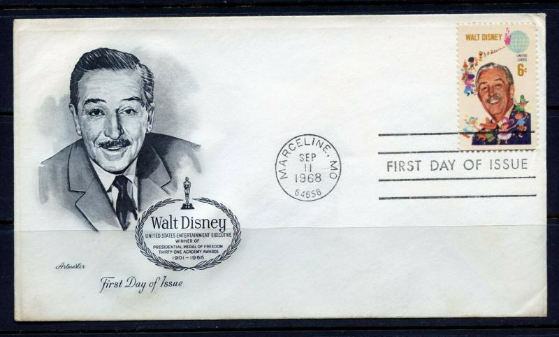 UNITED STATES 1968 WALT DISNEY  FIRST DAY COVER