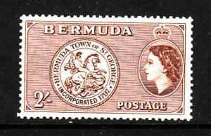 Bermuda-Sc #158-unused NH-2sh yellow brown-QEII-Arms of St George-1953-8-