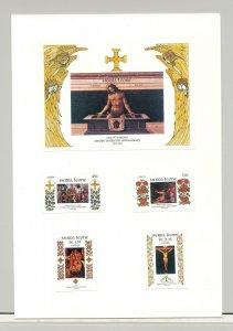 Sierra Leone #685-689 Easter Art 4v & 1v S/S Imperf Proofs on 1v Card